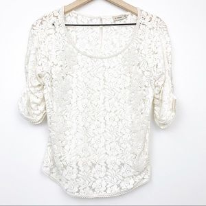 Cremieux Cream White Lace Beaded Top Puff Sleeves